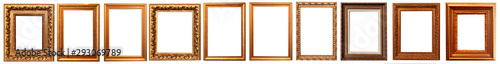 Collection of golden picture frames isolated on white background set Fototapeta