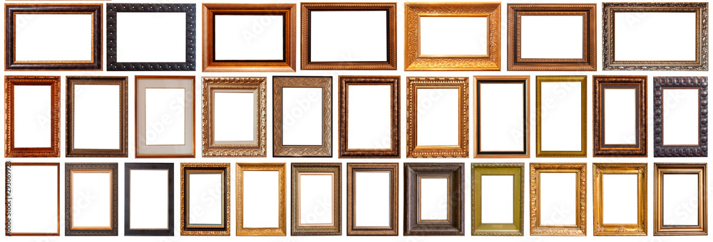 Fototapety, obrazy: Collection of golden picture frames isolated on white background set