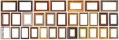 Fotomural  Collection of golden picture frames isolated on white background set