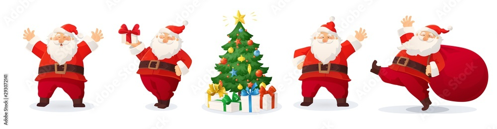 Fototapeta Cartoon vector illustration of Santa Claus and decorated Christmas tree with presents isolated on white