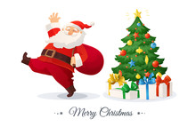 Merry Christmas Card. Cartoon Vector Illustration Of Santa Claus With A Bag. Decorated Christmas Tree With Presents.