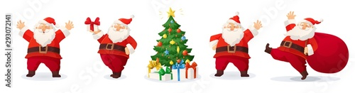 Cartoon vector illustration of Santa Claus and decorated Christmas tree with presents isolated on white