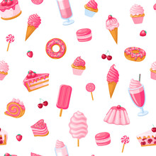 Seamless Pattern Of Sweet Food...