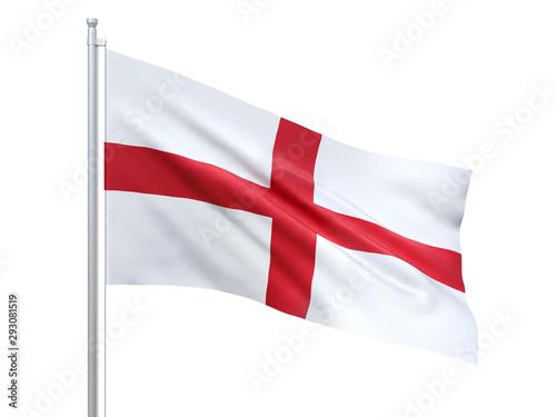 England flag waving on white background, close up, isolated Fototapeta