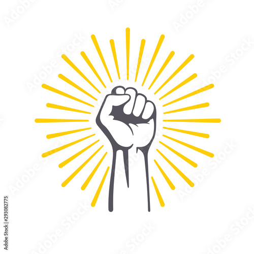 Fist male hand, proletarian protest symbol. Power sign. Canvas-taulu