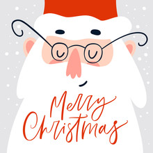 Christmas Holiday Card With Santa Claus And Handwritten Calligraphy