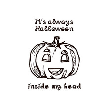 Halloween Hand Drawn Pumpkin W...