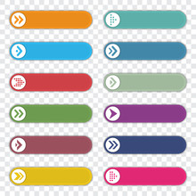 Set Of Number Bullet Point With Arrows. Infographic Elements Template. Vector Illustration