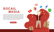 Social Media, Flat Design Of W...