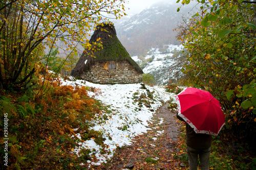 Brañas de teito en el Valle de Saliencia, Parque Natural de Somiedo, Asturias Canvas Print