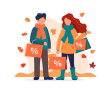 Autumn Sale, Man And Woman With Shopping Bags In Autumn. Vector Illustration In Flat Style