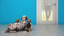 Dog Waiting By Front Door. 3d ...