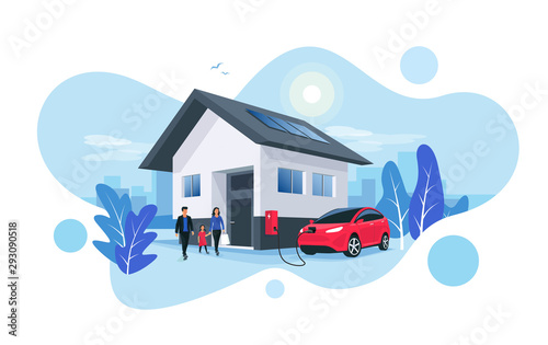 Obraz Electric car parking charging at home wall box charger station on house with a family. Renewable energy storage with solar panels and smart city skyline in background. Vector illustration.  - fototapety do salonu
