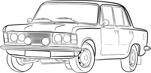szkic, car sketch, samochód, auto, duży fiat, fiat 125p