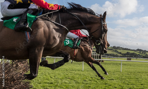 Fotografía Close-up on Race horses and jockeys jumping over a hurdle