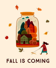 Autumn Cute Illustration. Vect...