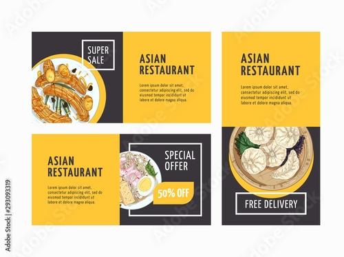 Fotografía  Asian restaurant advertising flyers templates set
