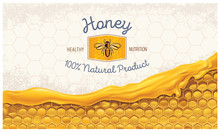 Honey Combs With Honey, And A Symbolic Simplified Image Of A Bee As A Design Element On A Textural Background.