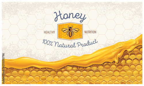 Photo Honey combs with honey, and a symbolic simplified image of a bee as a design element on a textural background