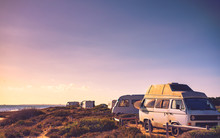 Camper Cars On Beach, Camping ...
