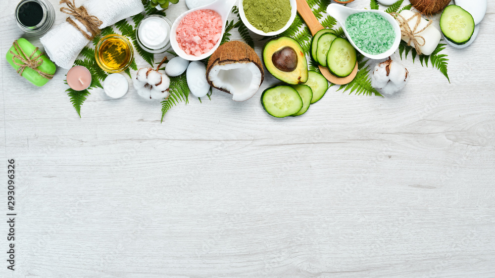 Fototapety, obrazy: Natural Cosmetics: Avocado, coconut, sea salt and face cream. The concept of cosmetics and spa. Top view. Free copy space.