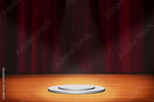 Obraz na plátně  stand podium with red curtain background, Stage backdrop