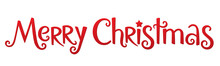 MERRY CHRISTMAS Red Vector Hand Lettering Banner