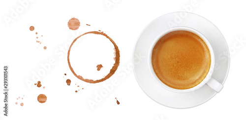 Coffee cup, stains and drops on white background Canvas Print