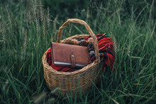 Basket With Book And Blanket
