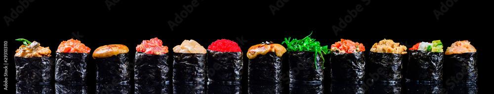 Fototapety, obrazy: sushi set gunkans on a black background