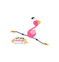 Flight Of A Little Flamingo In Twine. Prima Of The Ballet. Yellow Pointe Shoes For Pink Flamingos. Flamingo Is Dancing.