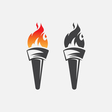 Torch Icon Logo Vector Illustr...