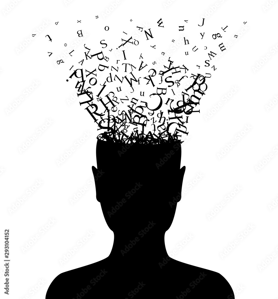 Fototapeta Head with flying letters . Vector decoration from scattered elements. Monochrome isolated silhouette. Conceptual illustration.