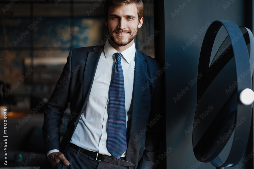 Fototapeta Handsome young businessman in office