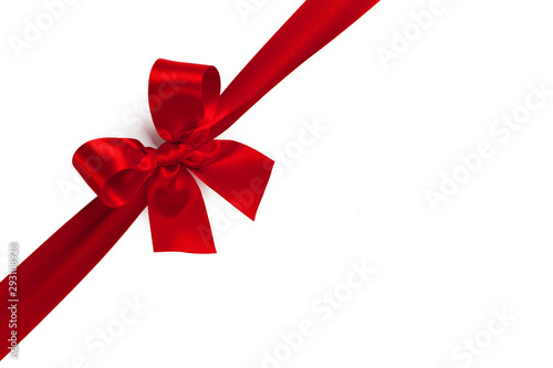 Obraz Red gift bow on white - fototapety do salonu