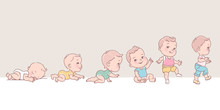 Baby Boy In Clothes. Set Of Child Health And Development Icons In Line.