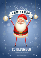 Advertising Template Or Flyer Design With Illustration Of Happy Santa Claus On Snowfall Blue Background For Merry Christmas Celebration.