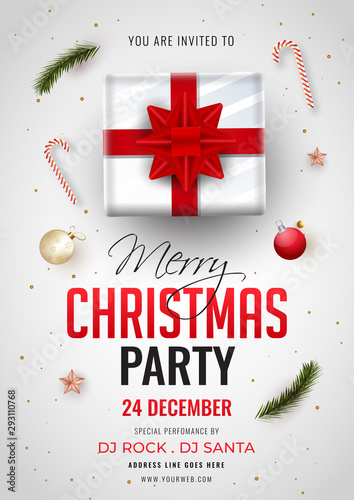 Fototapeta Merry Christmas Party Invitation Card Design With Top View Of Gift Box Bauble Candy Cane And Event Details On White Background