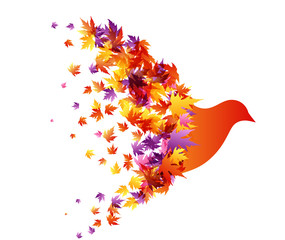 Flying bird with wings from colorful autumn leaves. Vector decoration from scattered elements. Colorful isolated silhouette. Conceptual illustration.