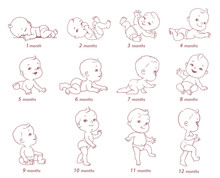 Set Of Baby Growth, Health And Development Icon.