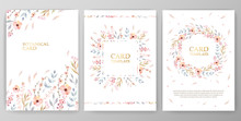 Vintage Vector Card, Wedding Invitation With Watercolor Flowers On White Background.
