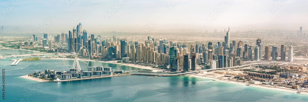 Fototapety, obrazy: Panoramic aerial view of Dubai Marina skyline with Dubai Eye ferris wheel, United Arab Emirates