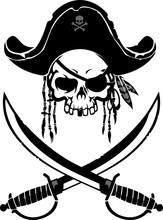 Pirate Skull Emblem With Vinta...