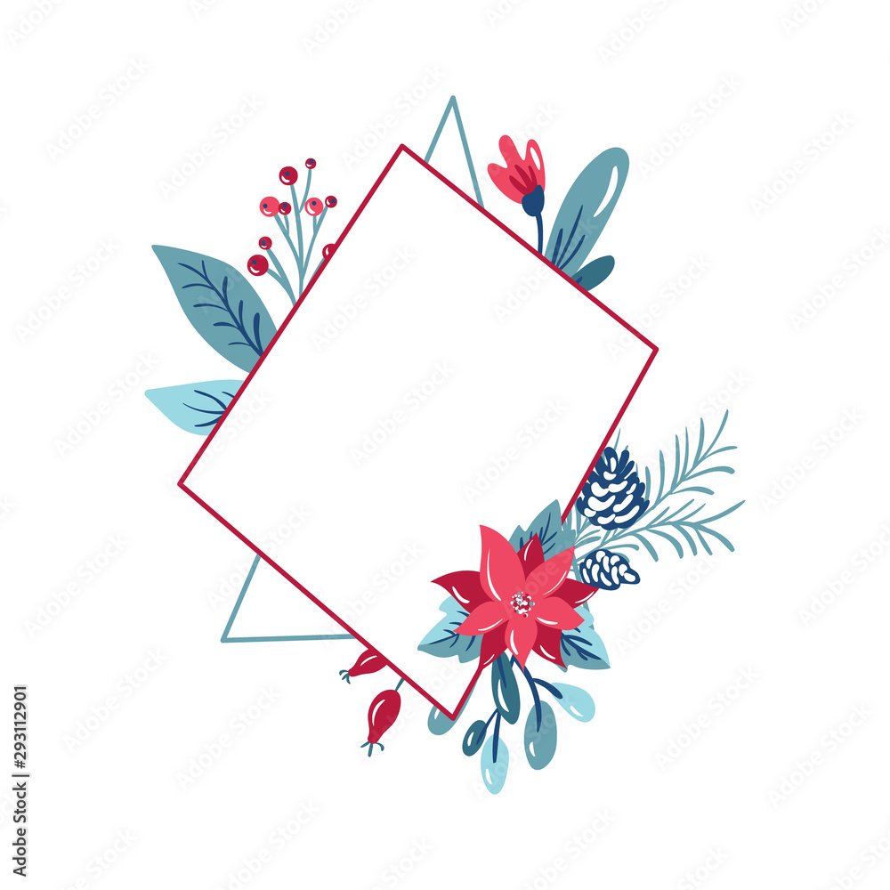 Fototapeta Vector geometric polygon frame with bouquet wreath. Christmas template for greeting card. Winter cones and pink flowers isolated on white background with place for text
