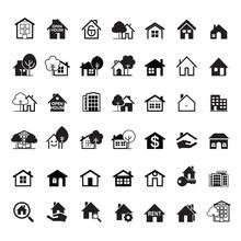 Set Of Black House Icon. Real Estate. Outline Vector Illustration.