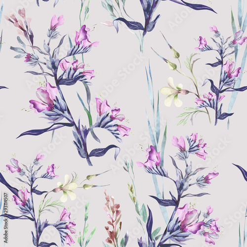 Türaufkleber Künstlich Blueweed Flower Seamless Pattern. Watercolor Background.