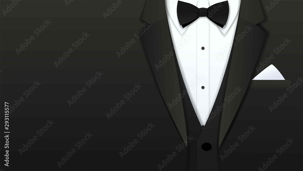 Fototapeta Close up of classic formal male tuxedo and bow tie with copy space, Paper art cut and craft style background