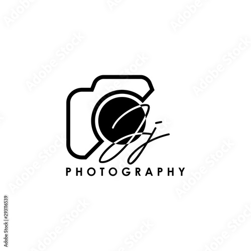 Obraz Initial Letter JJ with camera. Logo photography simple luxury vector. - fototapety do salonu