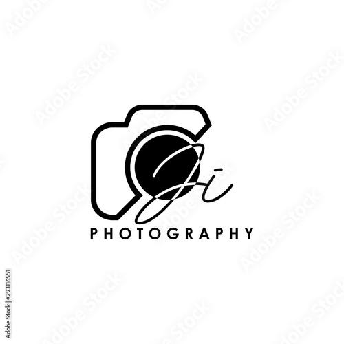 Obraz Initial Letter JI with camera. Logo photography simple luxury vector. - fototapety do salonu