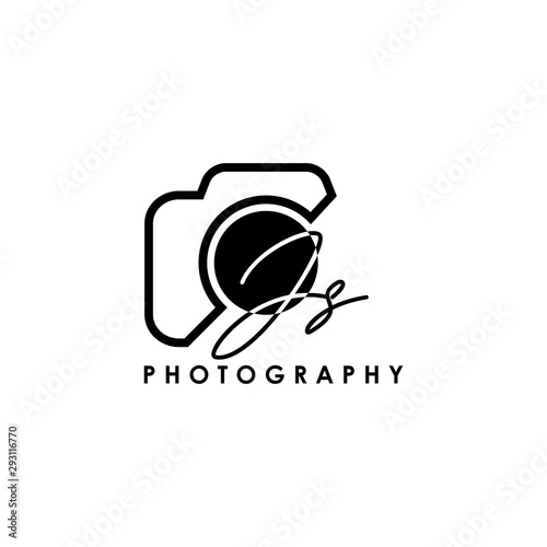 Obraz Initial Letter JS with camera. Logo photography simple luxury vector. - fototapety do salonu